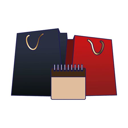 shopping bags and blank calendar icon over white background, vector illustration Ilustração