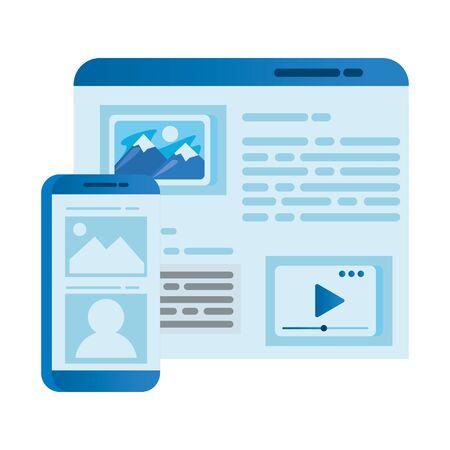 smartphone electronic with webpage template vector illustration design Ilustração