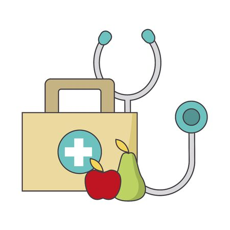 stethoscope, fruits and first aid kit over white background, colorful design, vector illustration