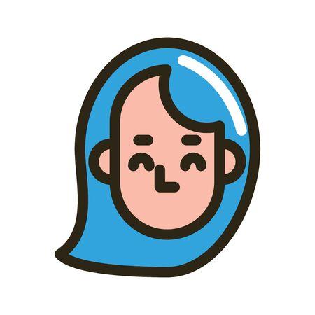 head woman face character icon vector illustration design Ilustracja