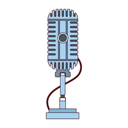 retro microphone with cord icon over white background,colorful design , vector illustration
