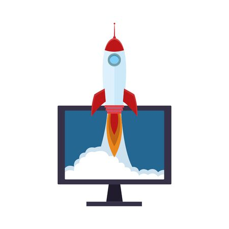 computer with rocket icon over white background, colorful design, vector illustration