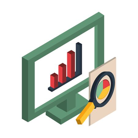 desktop with statistics bars icon vector illustration design