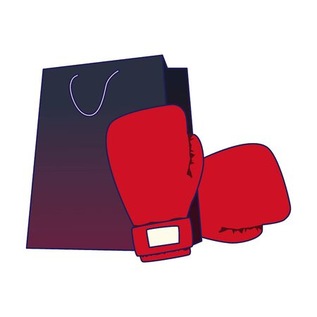 red boxing gloves with shopping bag over white background, vector illustration