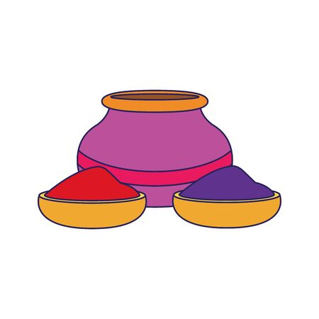 bowls with holi powder icon over white background, colorful design, vector illustration