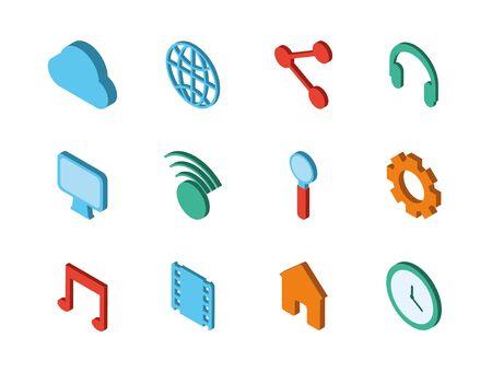 bundle of social media icons vector illustration design