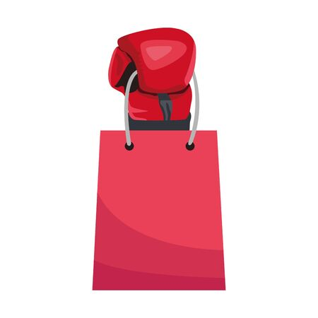 boxing glove with shopping bag icon over white background, vector illustration