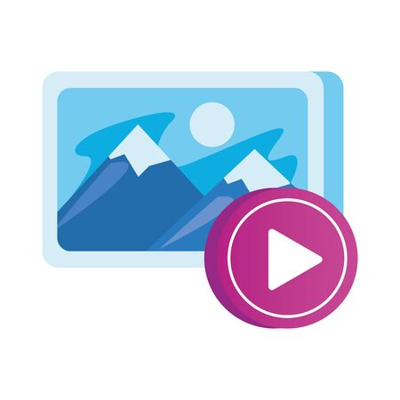 media player play button with photo vector illustration design Иллюстрация