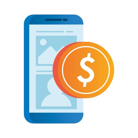 smartphone electronic with coin dollar vector illustration design