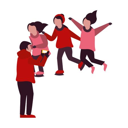 young kids with winter clothes taking picture with cellphone vector illustration design