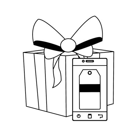 gift box and smartphone with price tag over white background, flat design, vector illustration Ilustração