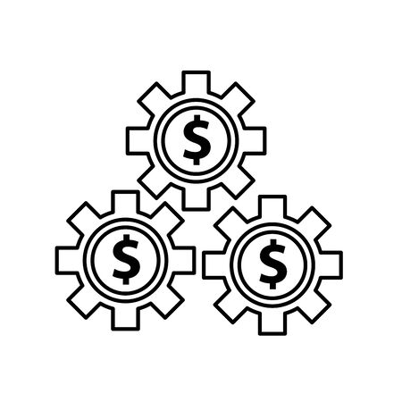 gears with money symbols icons vector illustration design Çizim