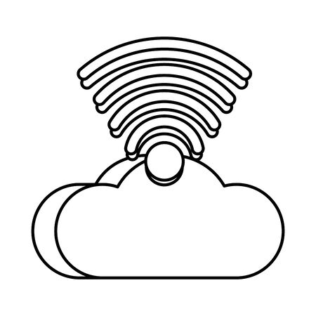 cloud computing server with wifi signal vector illustration design