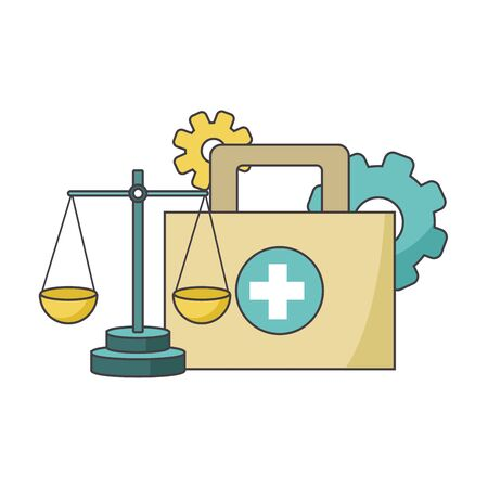 first aid kit, scale and gears over white background, vector illustration