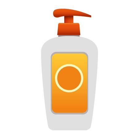 sunblock cream bottle icon over white background, colorful design, vector illustration Illustration