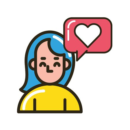 woman with speech bubble and love heart vector illustration design