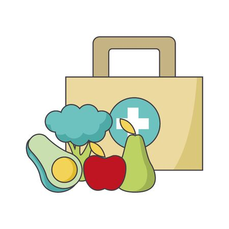first aid kit and healthy vegetables and fruits over white background, vector illustration Ilustração