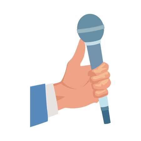 hand holding a microphone icon over white background, vector illustration