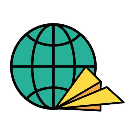 sphere planet browser with paper airplane vector illustration design Ilustração