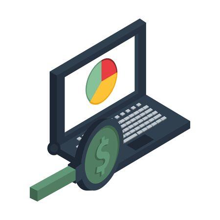 laptop computer with statistics pie and magnifying glass vector illustration design Ilustração