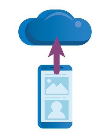 smartphone electronic with cloud computing vector illustration design