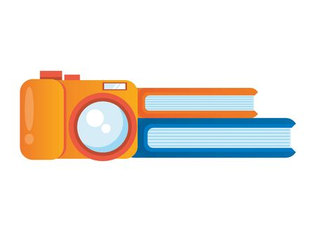 camera photographic with books icons vector illustration design