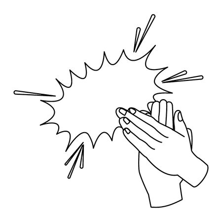 Hands clapping with burst effect icon over white background, flat design, vector illustration Ilustracja