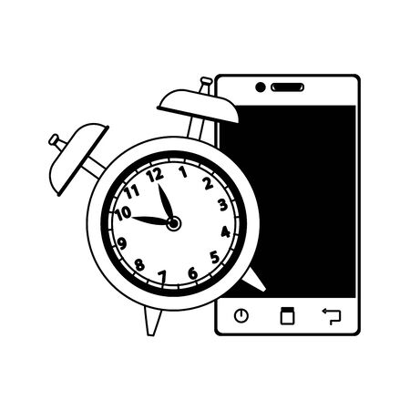alarm clock with smartphone device over white background, flat design, vector illustration