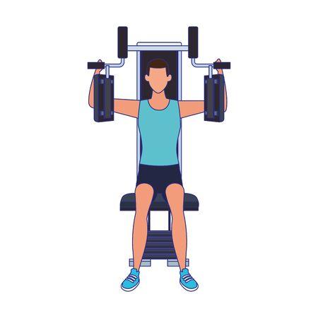 avatar man working on gym machine icon over white background, vector illustration Ilustração