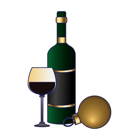 wine bottle and glass with christmas ball icon over white background, flat design, vector illustration