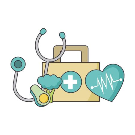 stethoscope, vegetables and first aid kit over white background, colorful design, vector illustration Ilustração