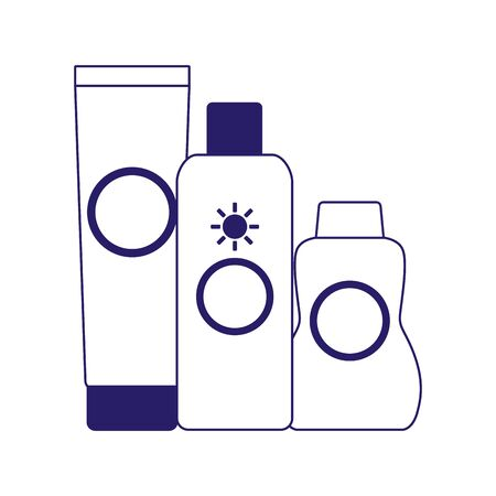 sunscreens bottles icon over white background, flat design, vector illustration