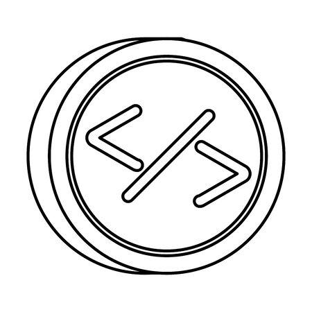 programming symbols in button icon vector illustration design