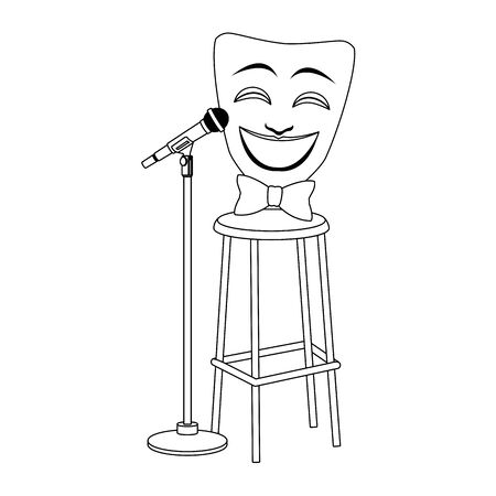 comedy theater mask on bar stool and stand microphone icon over white background, flat design, vector illustration