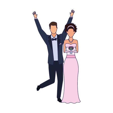 happy groom and bride icon over white background, vector illustration