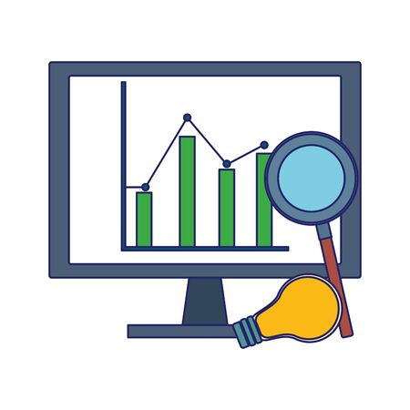 computer with graphic chart and magnifying glass over white background, colorful design, vector illustration