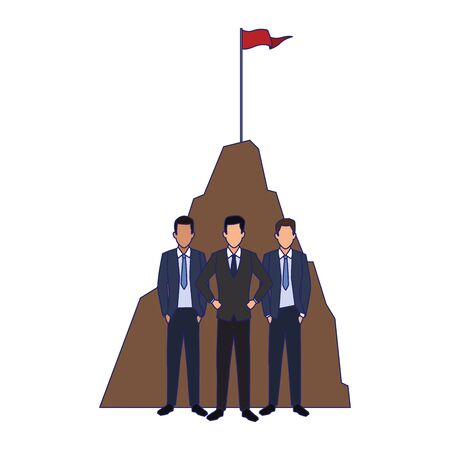 businessmen standing over hill and white background, vector illustration