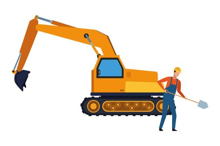 Construction worker with shovel and backhoe vector illustration graphic design