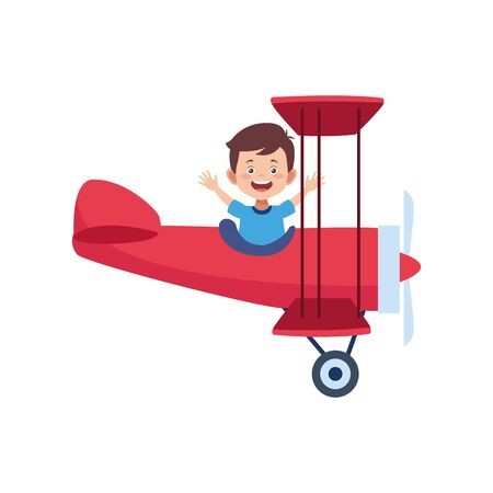happy Man Flying an Airplane icon over white background, vector illustration