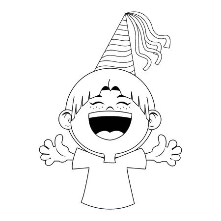cartoon happy boy with party hat icon over white background, flat design, vector illustration