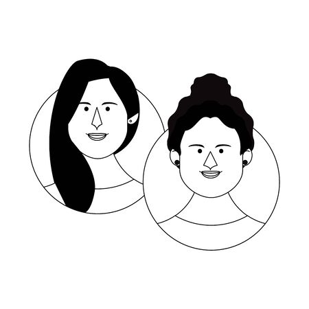 Women friends couple face round icons cartoons vector illustration graphic design