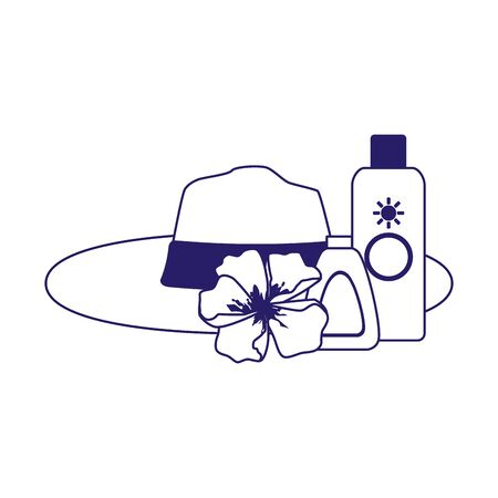 beach hat with flower and sun bronzers bottles over white background, flat design, vector illustration Ilustracja