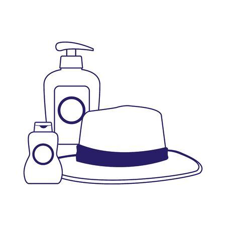 hat and sun bronzer bottle icon over white background, flat design, vector illustration