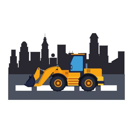 Contruction vehicle backhoe machine in the city scenery vector illustration graphic design Çizim
