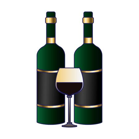 wine bottles and glass icon over white background, colorful design, vector illustration