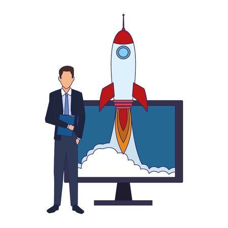 businessman and computer with rocket icon over white background, vector illustration Illustration