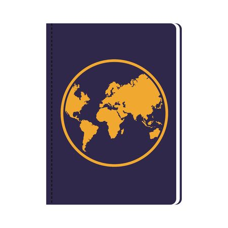 passport document icon over white background, vector illustration
