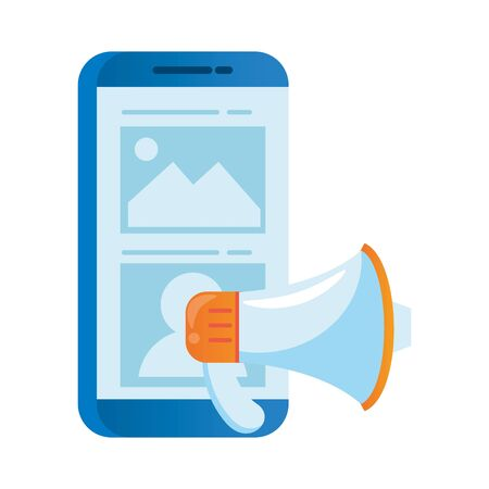 smartphone electronic with megaphone sound vector illustration design