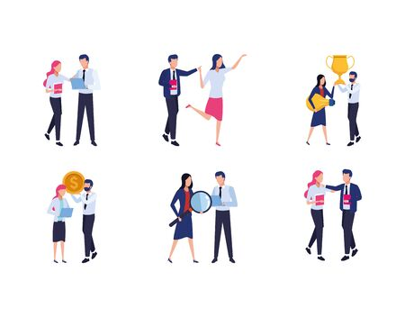 teamwork of business people icons set over white background, vector illustration