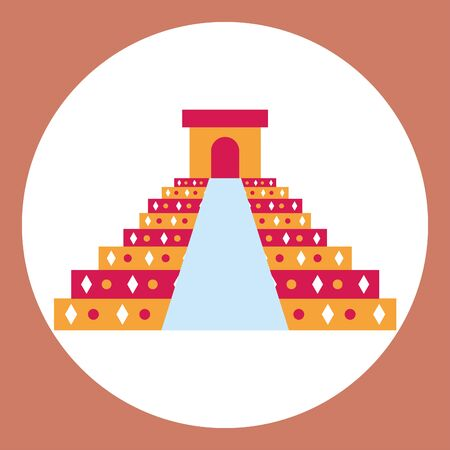 mexican mayan pyramid culture icon vector illustration design
